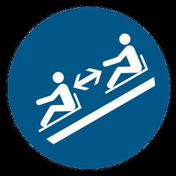 Vorlage: Symbol Abstand zwischen Schlitten einhalten