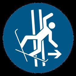 Vorlage: Symbol Im Fall eines Sturzes Schleppspur sofort verlassen