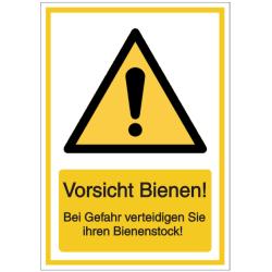 Vorlage: Vorsicht Bienen! Bei Gefahr verteidigen Sie ihren Bienenstock!