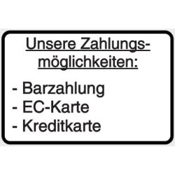 Vorlage: Unsere Zahlungsmöglichkeiten: Barzahlung, EC-Karte & Kreditkarte