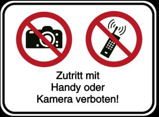 Vorlage: Zutritt mit Handy oder Kamera verboten