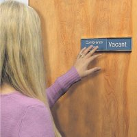Engraved Door Sign with Sliding Panel - Meeting Room/Occupied/Vacant