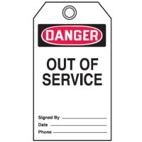 Self Laminating Tags - Danger Out Of Service