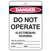 Economy Safety Tags - Do Not Operate Electricians Working