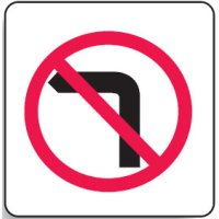 Regulatory Signs - No Left Turn Symbol