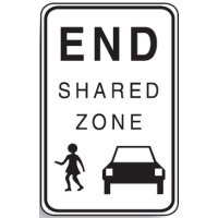 Regulatory School Signs - End Shared Zone W/Picto