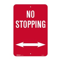 Traffic Control Sign - No Stopping (with Double-headed Arrow) - 300x450mm C2 ALUM