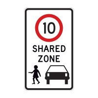 Regulatory Road Sign - R4-4 Shared Zone with Speed Limit 10 - 750x450mm C1 ALUM