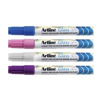 Artline Glass Markers 2mm - Pack Of 12, Assorted Colours