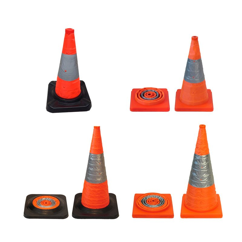 Traffic Cone Collapsible with Reflective and Lights Orange