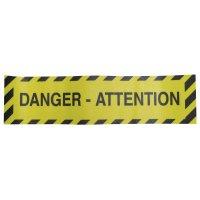 """Bandes antidérapantes adhésives prédécoupées avec texte """"Danger - Attention"""" - Puissance moyenne"""