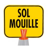 Panneau pour cône de chantier - Sol mouillé