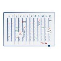 Planning annuel magnétique laqué avec division mensuelle verticale