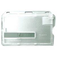 Porte-badge rigide en polycarbonate transparent avec glissière