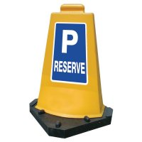 Cône de signalisation de parking réservé en PVC jaune
