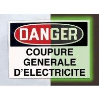 """Panneau d'avertissement photoluminescent type OSHA """"Danger - Coupure générale d'électricité"""""""