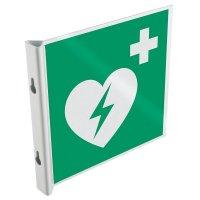 Panneaux en drapeau et tridimensionnels EN ISO 7010 Défibrillateur automatique externe pour le cœur