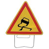 Panneau de signalisation temporaire - Chaussée glissante
