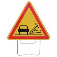Panneau de signalisation temporaire - Projection de gravillons