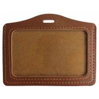 Porte-badge aspect cuir