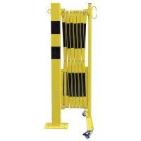 Barrière accordéon sur pied fixe pour entrepôt