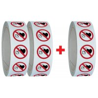 Lot de 3 rouleaux de pictogrammmes ISO 7010 Interdit aux personnes portant un stimulateur cardiaque - P007 (2+1 gratuit)