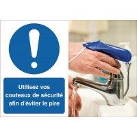 Poster de sécurité - Utilisez vos couteaux de sécurité - M001