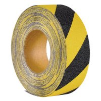 Bande antidérapante adhésive jaune et noire en rouleau Easy Clean - Puissance faible