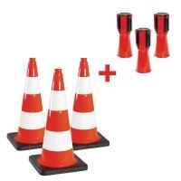 Kit cônes de chantier et balises à enrouleur