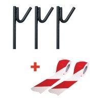 Kit 3 Piquets de chantier + 2 Rubans de signalisation rayés