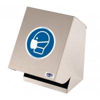 Boîte en inox grand modèle pour écran facial et masque de protection respiratoire