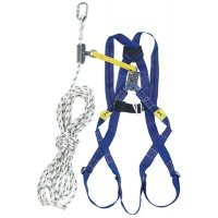Kit anti-chute toiture 10 m, harnais, coulisseau et longe