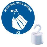 """Kits crochets et pictogrammes """"Accrochez votre masque"""""""