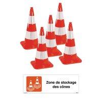 Kit cônes de chantier et panneau zone de stockage