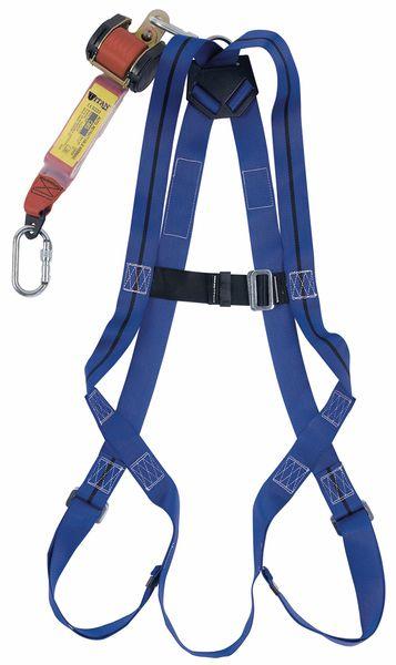 Kit anti-chute construction, harnais, longe rétractable et mousquetons