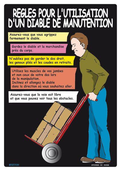 Affiche sur les règles d'utilisation d'un diable de manutention