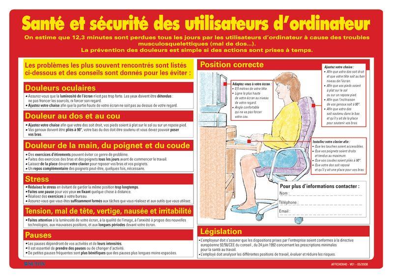 Affiche sur la santé et la sécurité des utilisateurs d'ordinateur