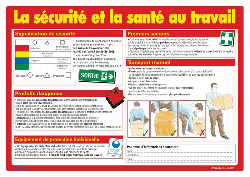 Fabuleux Affiche sur la sécurité et la santé au travail | Seton Belgique HV84
