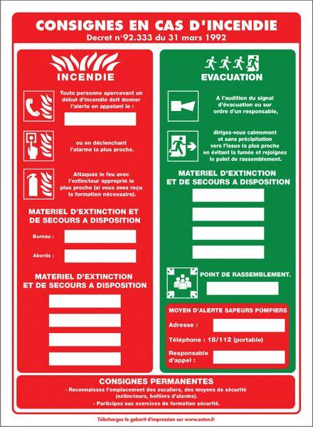 Affichage obligatoire à insert sur les consignes en cas d'incendie