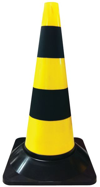 Cônes de chantier jaunes et noirs pour signalisation de zones dangereuses
