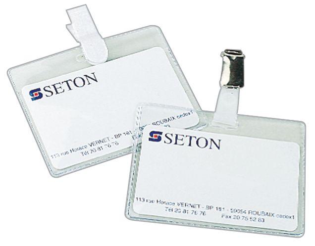 Pochettes porte-badge semi-rigides transparentes, avec clip chromé ou plastique