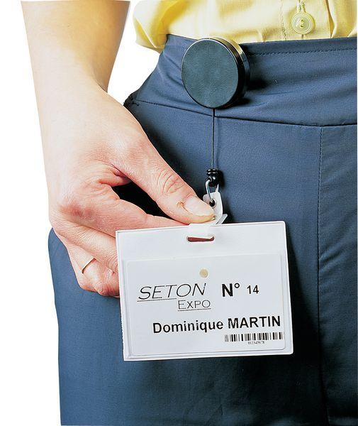 20cbd2c168a9 Enrouleur zip porte-badge, en métal, avec pince ceinture   Seton ...