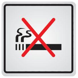 "Panneau d'information adhésif en acier ""Interdiction de fumer"""