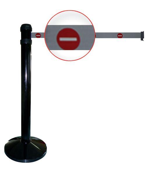 """Poteaux noirs à sangle étirable avec signalisation """"Sens interdit"""""""