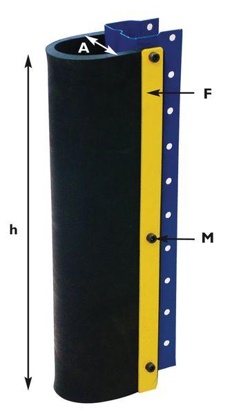 Protection pour poteaux et rayonnages avec amortisseur en caoutchouc