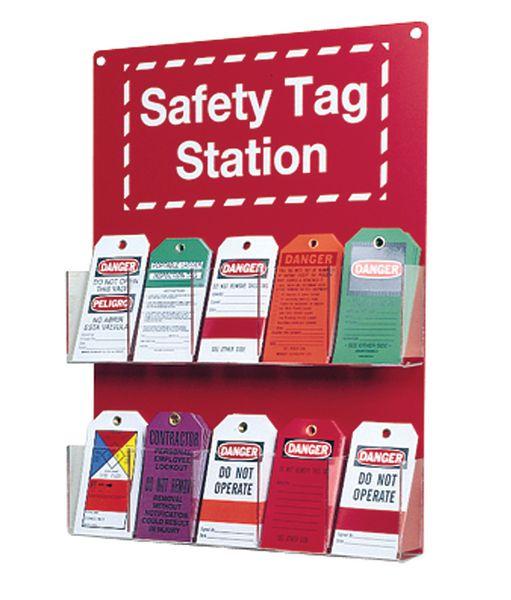 Panneau support d'étiquettes de sécurité avec 10 compartiments