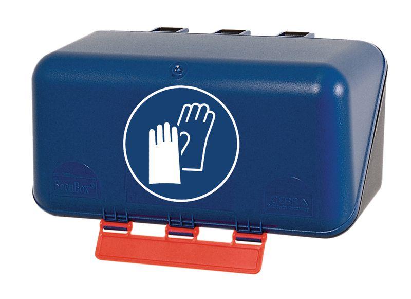 """Boîtes de rangement standards pour EPI avec pictogramme """"Gants de protection obligatoires"""""""