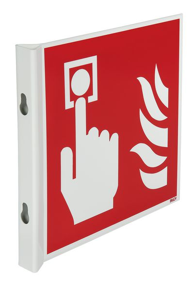 Panneaux en drapeau et tridimensionnels EN ISO 7010 Point d'alarme incendie
