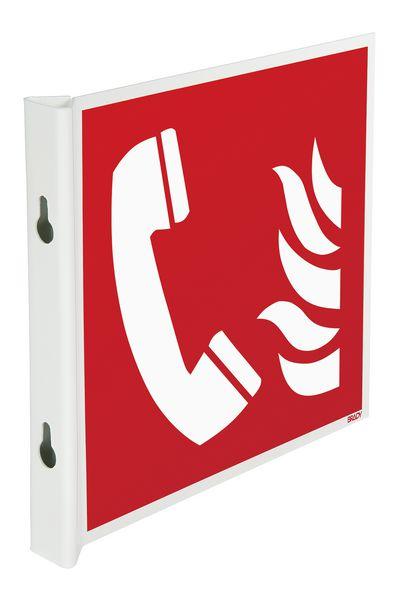 Panneaux en drapeau et tridimensionnels EN ISO 7010 Téléphone à utiliser en cas d'incendie