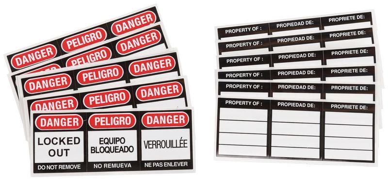 Etiquettes trilingues pour cadenas de consignation